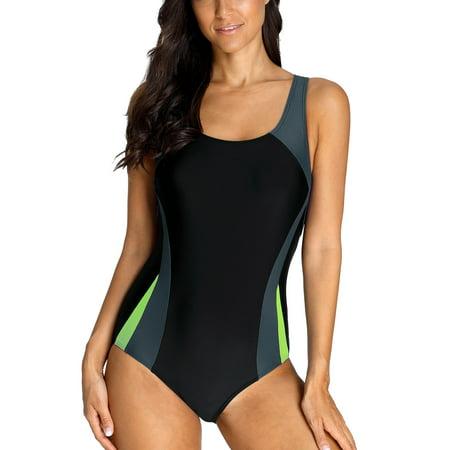 Charmo Women's Athletic One-Piece Swimsuits Sports Racerback One Piece Swimwear