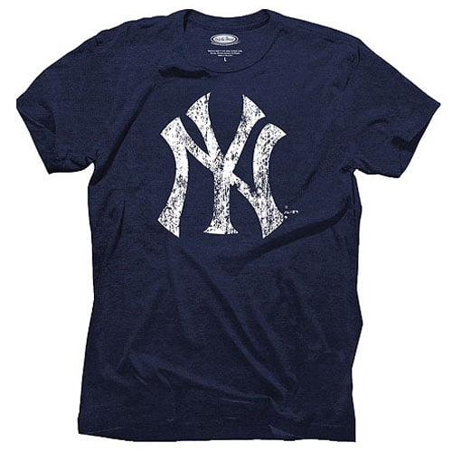 New York Yankees Majestic Threads Tri-Blend Logo T-Shirt - Navy