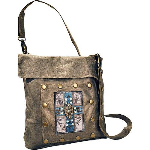 KBD Studio Messenger Bag w/ Turquoise Cross and Rhinestones
