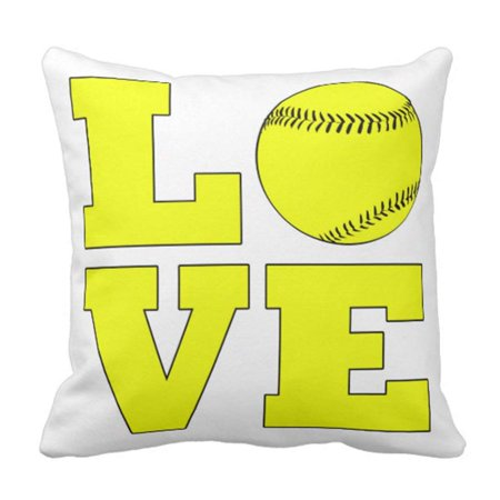 Halloween Softball Tournament Names (BPBOP Fastpitch Softball Love and Yellow Tournament Pillowcase Cushion Cover 16x16)