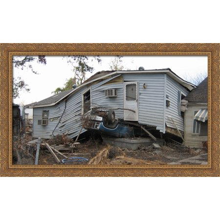 New Orleans Katrina Damage 40x24 Large Gold Ornate Wood Framed Canvas