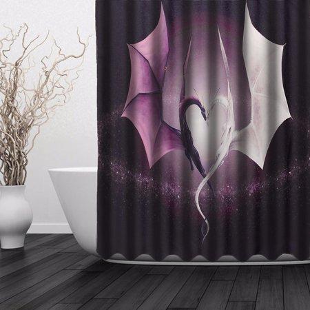 - 60 x 72 Inch Modern Print Dragon Waterproof Fabric Shower Curtain Home Bathroom with 12 hooks Christmas Gift