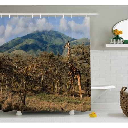 Zoo Shower Curtain, Giraffe among Trees Prickly Acacias Grazing Mountain Africa Safari Savanna, Fabric Bathroom Set with Hooks, Green Blue Pale Brown, by Ambesonne
