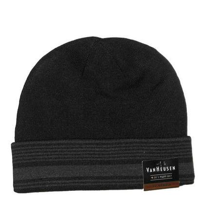 Van Heusen Men Reversible Knit Beanie 4 in 1 Cuff Hat Striped Black One - Vans Mens Beanie