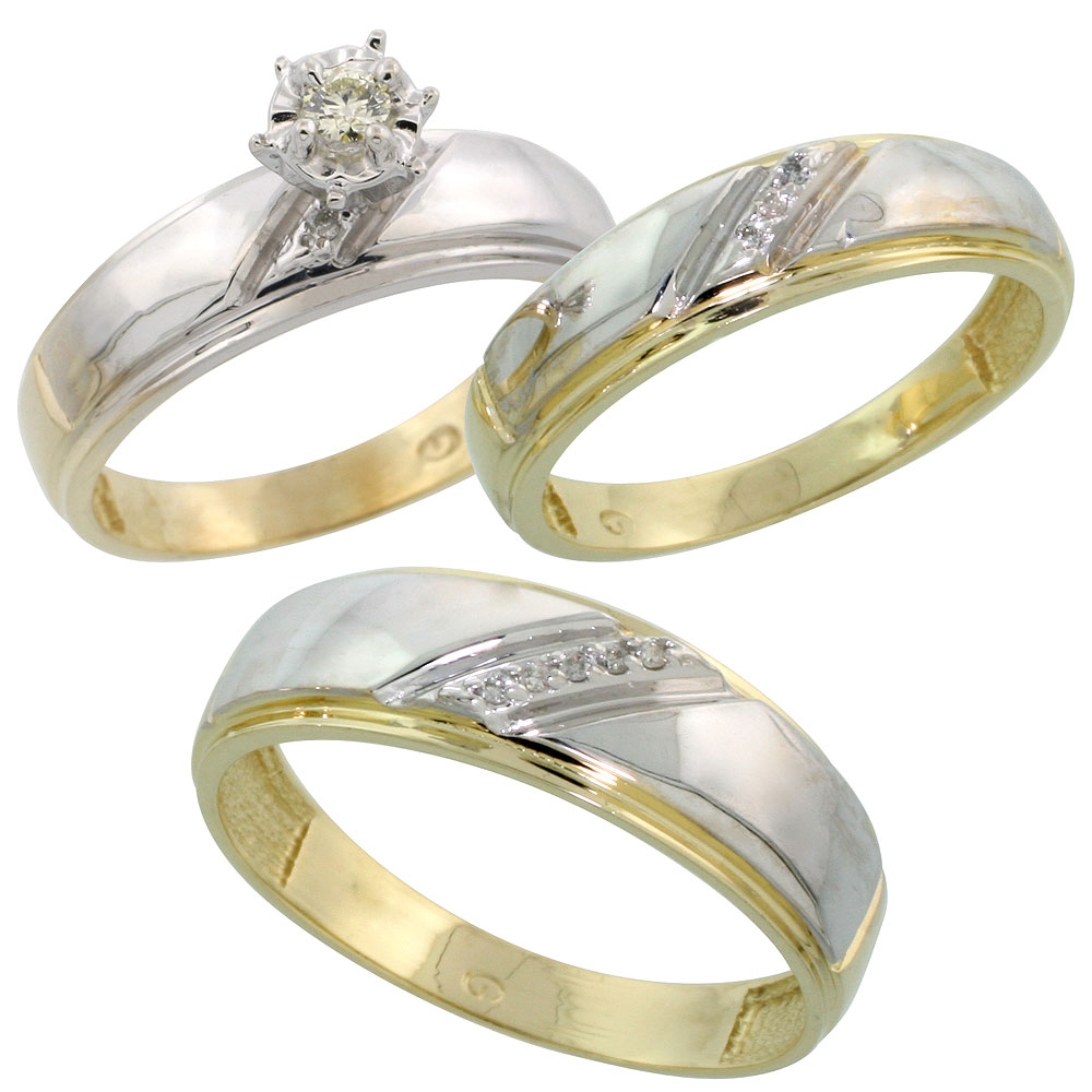 Gold Plated Sterling Silver Diamond Trio Wedding Ring Set His 7mm Hers 5 5mm Mens Size 8 To 14