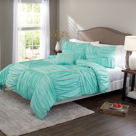 Better Homes & Gardens Full or Queen Basketweave Ruched Bedding Duvet Set, 4 Piece