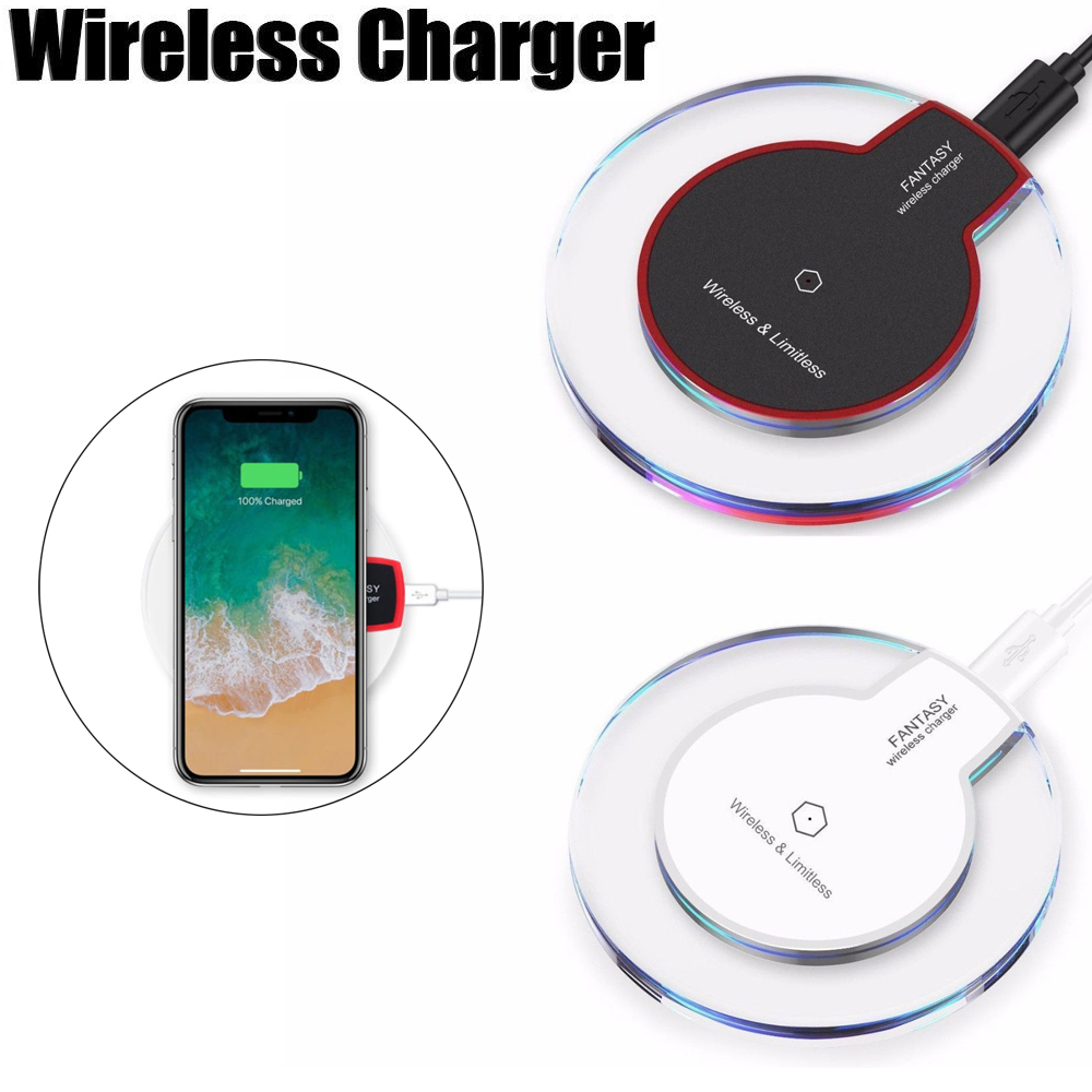 Wireless Charger Qi Standard Ultra Slim UFO Shape Crystal Clear Fantasy Wireless Charging Pad LED light for iPhone X 8 8 Plus Samsung S6 S7 S8 S8 Plus