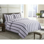 Printed Flannel 3 Piece Stripe Duvet Cover Set by Tribeca Living