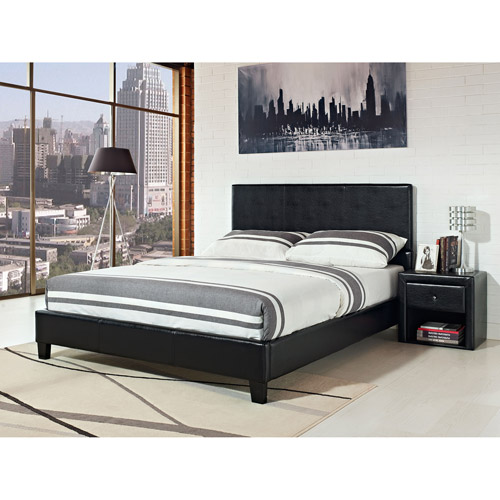 Stratus Faux Leather Eastern King Bed, Black