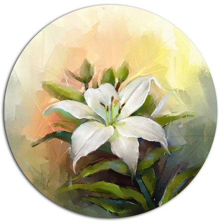 Lilies Oil Painting - Design Art 'White Lily Flower Oil Painting' Oil Painting Print on Metal