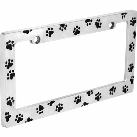 Auto Drive Paw Prints License Plate Frame - Personalized License Plate Frame