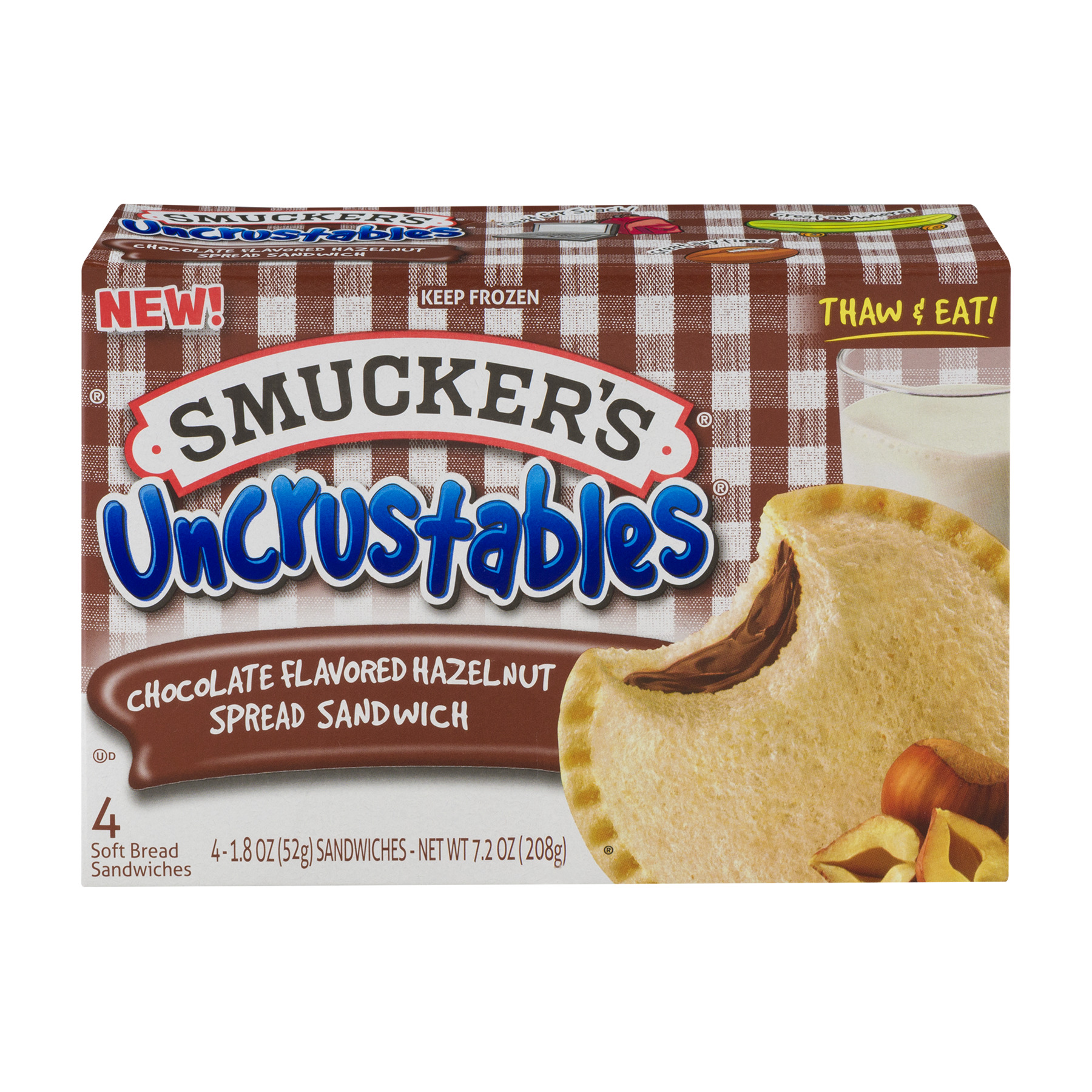 Smucker's Uncrustables Chocolate Flavored Hazelnut Spread Sandwich - 4 CT1.8 OZ