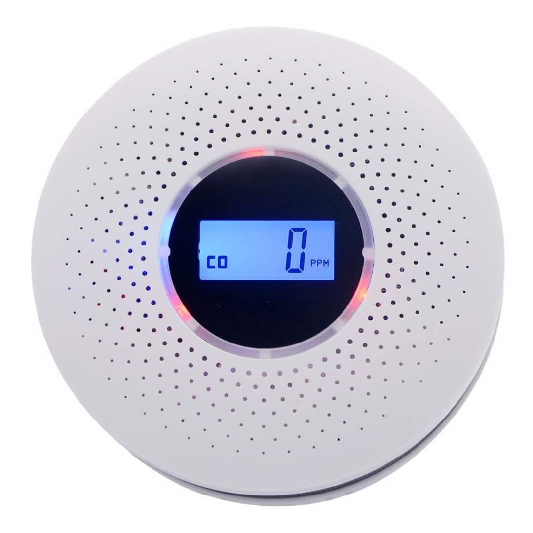 2 in 1 Carbon Monoxide&Smoke Alarm Smoke Fire Sensor Alarm CO Carbon Monoxide Detector Sound Combo Sensor Tester Battery Operated with Digital Display for CO Level