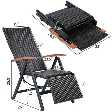 Aluminum Rattan Lounge Chair Recliner Patio Garden Furniture Folding Back - image 3 of 10