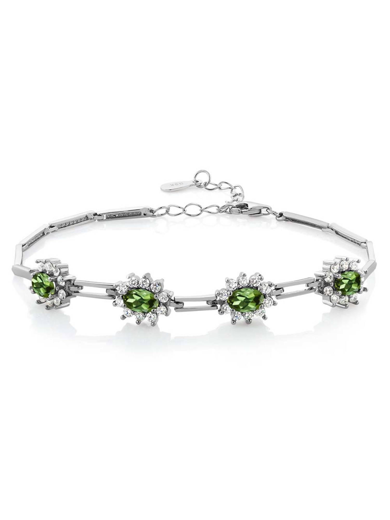 3.60 Ct Oval Green Tourmaline 925 Sterling Silver Bracelet by