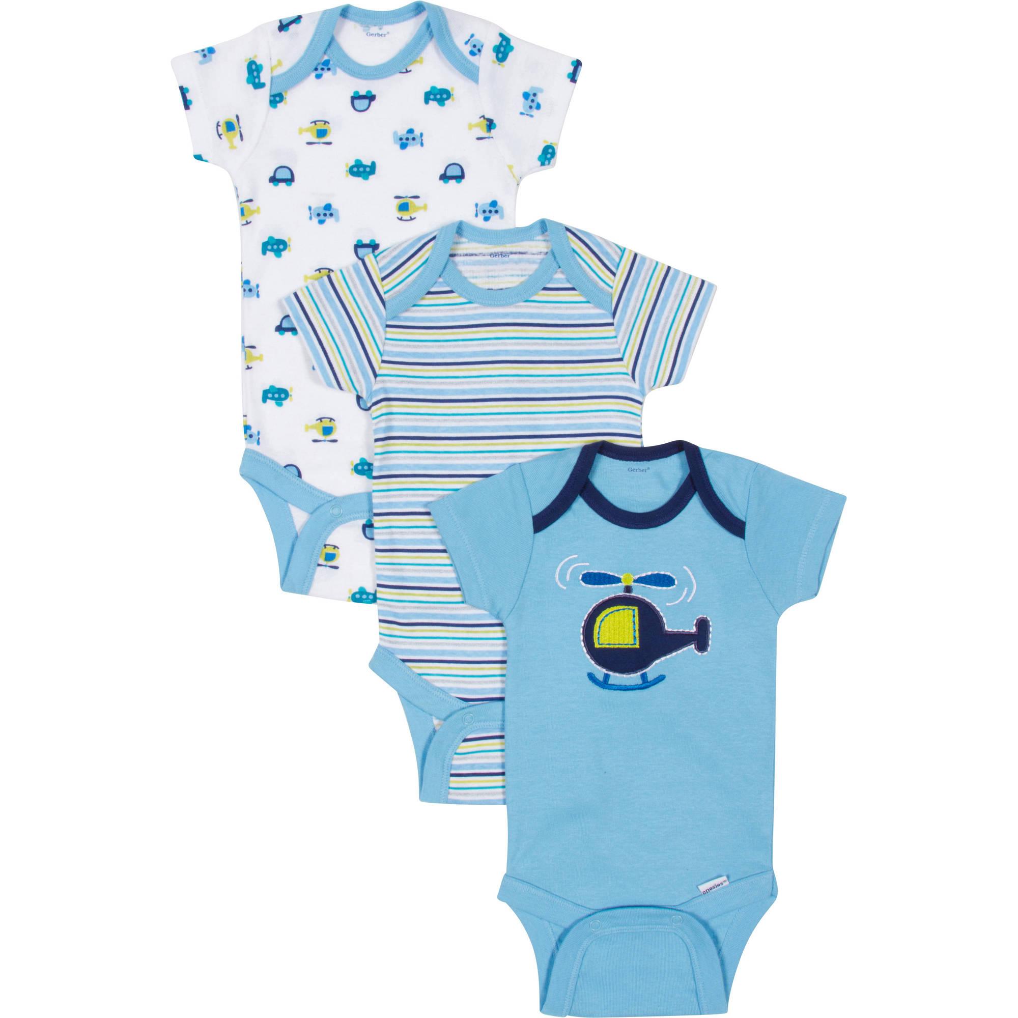 Gerber Newborn Baby Boy Bodysuits Variety, 3-Pack