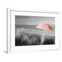Color Pop, Beach umbrella on the beach, Saunton, North Devon, England, Living Coral Framed Print Wall Art