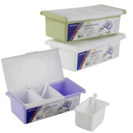 Pac-It Fresh 2291292 9.25 in. 3-Section Spice Container, White & Purple - 48 Per Pack - Case of 48 - image 1 of 1