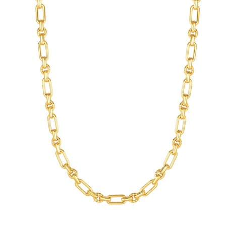Fancy Heart Link Necklace - 14kt Gold 18