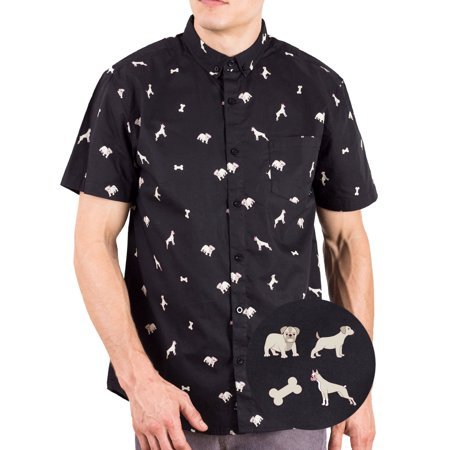 - Mens Printed Dogs Hawaiian Shirts | Casual Short Sleeve Button Up Down Shirt Dog L