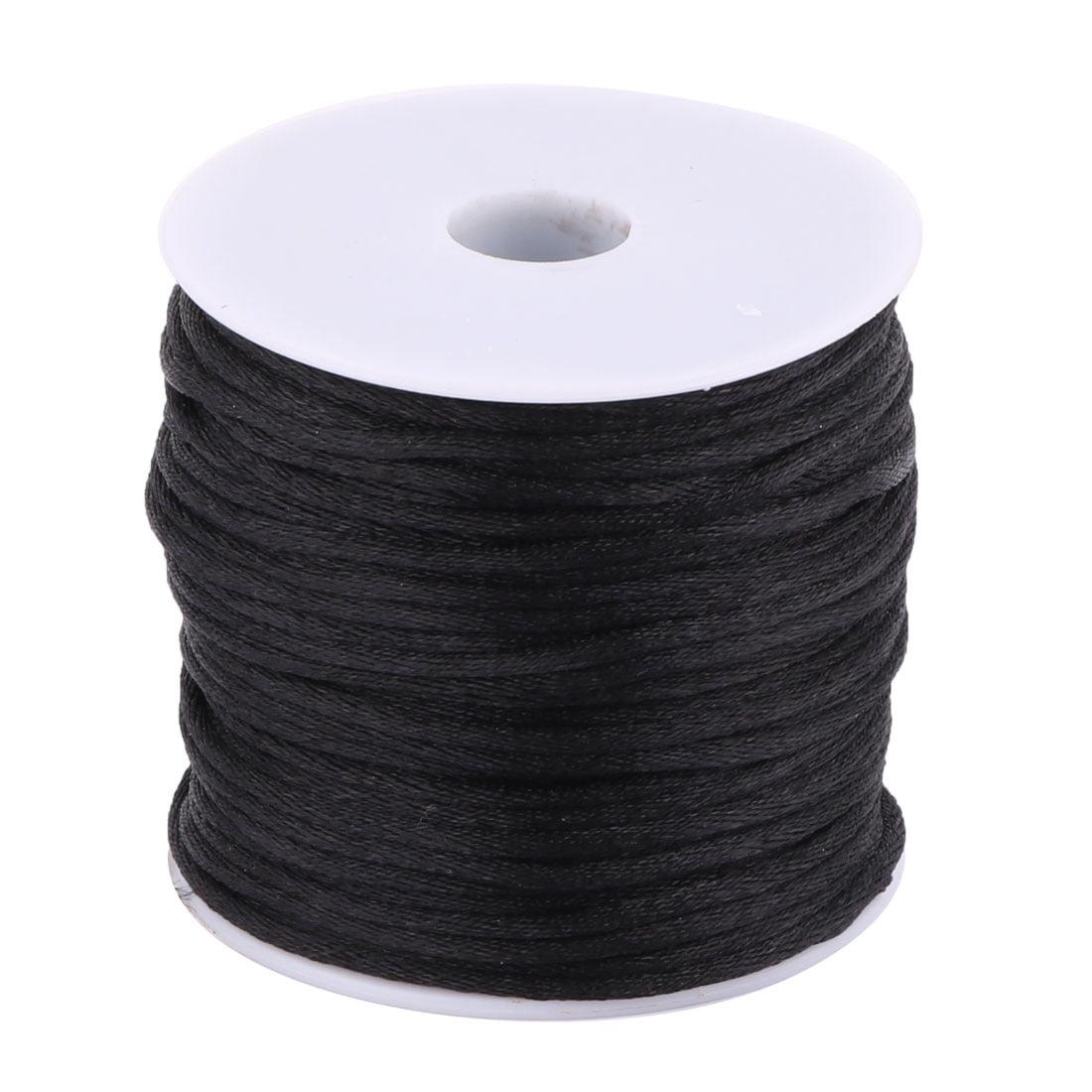 Nylon Handicraft DIY Knit Key Chains Doll Pendant Cord Black 2mm Dia 49 Yards