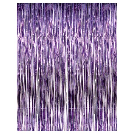 3' x 8' Purple Tinsel Foil Fringe Door Window Curtain Party (Party Door Fringe)