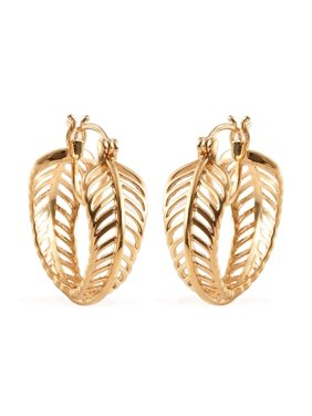 18K Yellow Gold Plated Openwork Leaf Hoops Hoop Earrings Jewelry for Women Gift