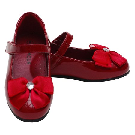 L'Amour Patent Red Slip On Bow Dress Shoes Toddler 10-Little Girls 4