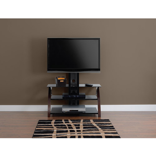 Boulevard Glass and Wood Rich Espresso TV Stand for TVs up to 42""