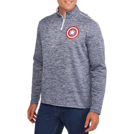 Men's Marvel Captain America Shield Logo Graphic 1/4 Zip