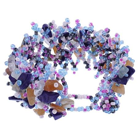 Gem Avenue Multicolor Resin 7 inch Cluster Beads Bracelet