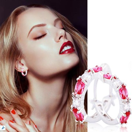 EECOO Woman Jewelry Ruby Diamonds Silver Plated Hoop Earrings Girl Accessory, Diamonds Earrings, Ruby - Hoop Ruby Earrings