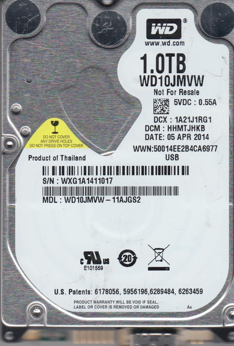 WD10JMVW-11AJGS2, DCM HHMTJHKB, Western Digital 1TB USB 2.5 Hard Drive by WD