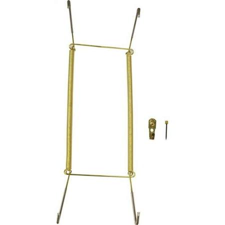 14-18 in. Plate Hanger Steel, Polished (Brass Plated Glass Hanger Rack)