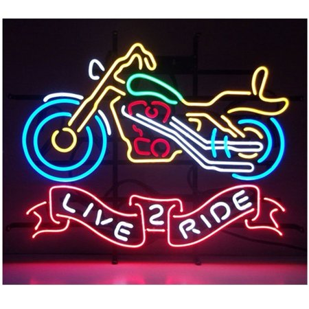 Desung Brand New Live 2 Ride Neon Sign Handcrafted Real Glass Beer Bar Pub Man Cave Sports Neon Light 24 X 20  Wml04