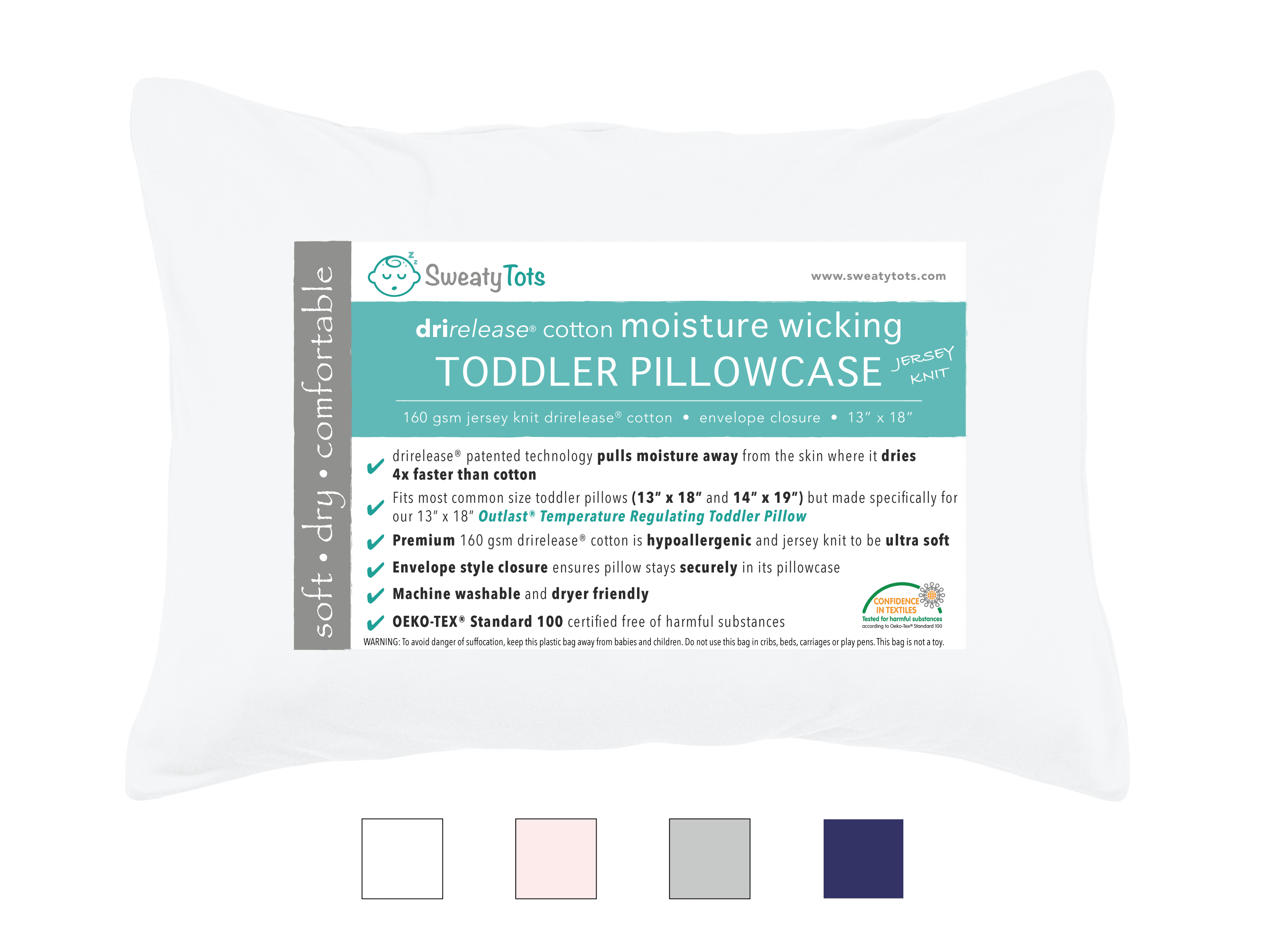(White) Moisture Wicking Toddler Pillow Case for Sweaty Sleepers by Sweaty Tots- Fits 13 x 18 and 14 x 19... by