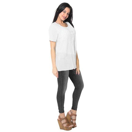 d89fc1e55ed61 LA LEELA - Round Neck Button Down Shirt Soft Cotton Cover up/Tunic/Top  CASUAL/Wear To Work - Walmart.com