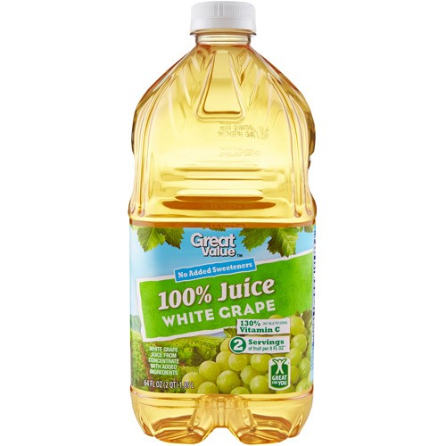 Great Value 100% White Grape Juice, 64 Fl Oz by Great Value