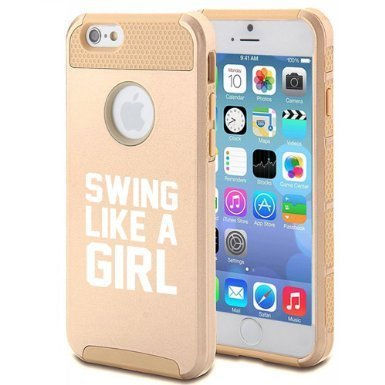 Apple iPhone 6 6s Hybrid Shockproof Impact Hard Cover / Soft Silicone Rubber Inside Case Swing Like A Girl Golf Softball Kettlebell (Gold),MIP