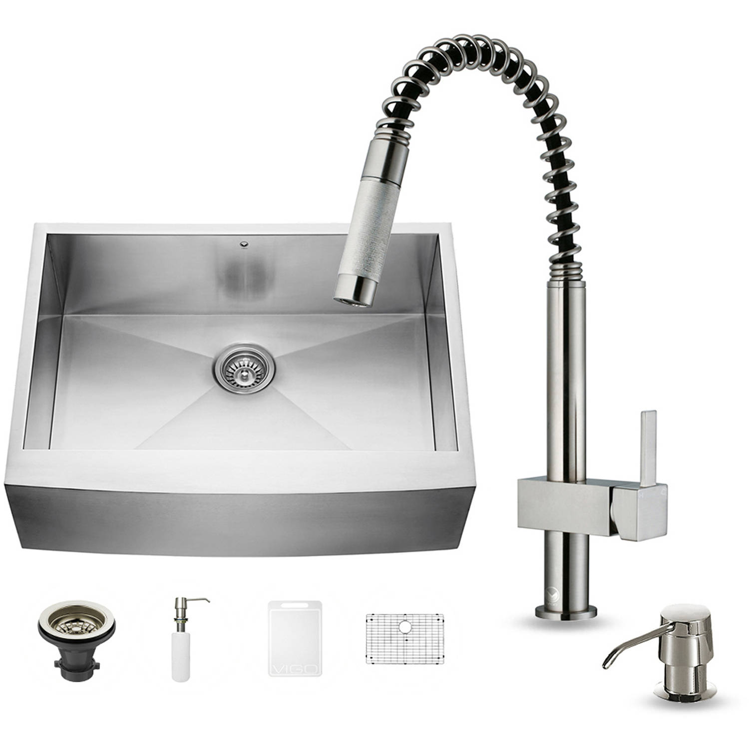 "Vigo All-in-One 30"" Farmhouse Stainless Steel Kitchen Sink and Faucet Set"