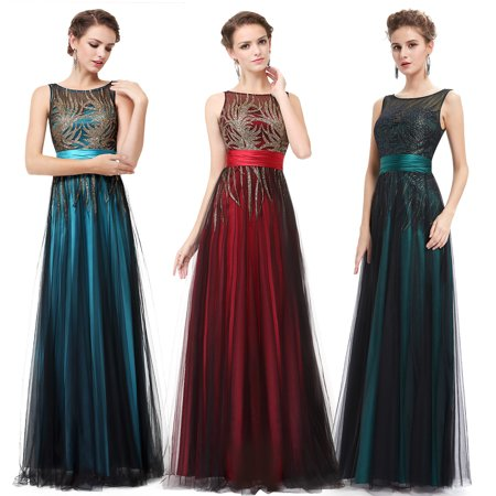 Ever-Pretty Shimmery Prom Party Dresses Sleeveless Evening Gown Bridesmaid Dress 08740