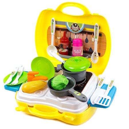 Toysery Dream Pretend Kitchen Play Set Toy Suitcase Kit Traveling Suitcase  Toy for Kids, Boys, Girls & Children, 24Pcs
