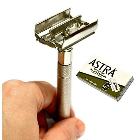 - CS-302 Classic Samurai Butterfly Twist to Open Double Edge Safety Razor With 5 Astra Superior Platinum Double Edge Safety Razor Blades