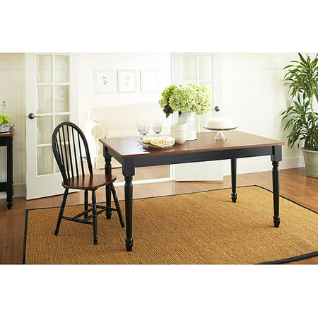 - Better Homes and Gardens Autumn Lane Farmhouse Dining Table, Black and Oak