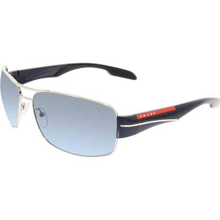 Gradiant Lens - Prada Men's PS53NS-1BC5I1-65 Silver Rectangle Sunglasses