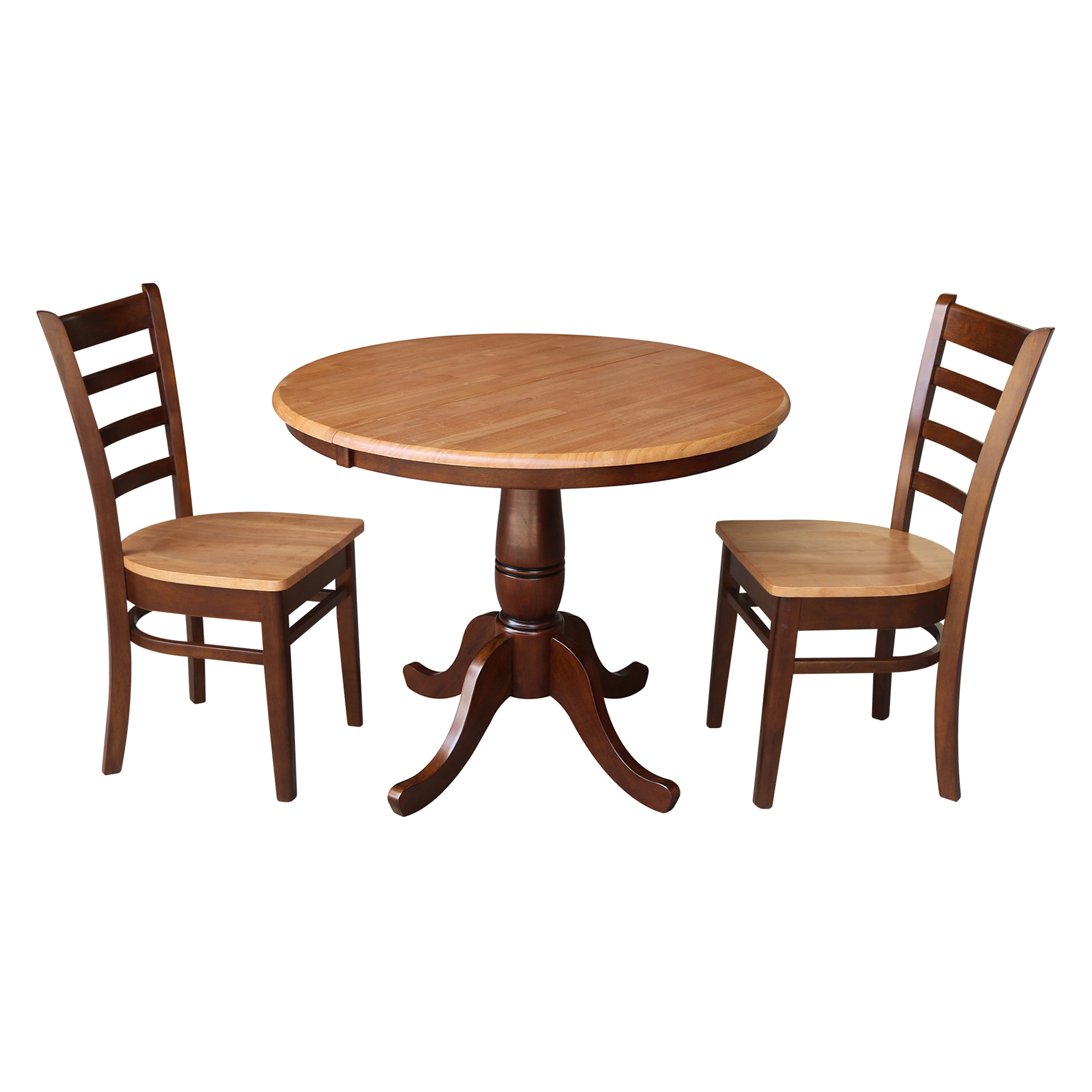 """36"""" Round Dining Table with 12"""" Leaf And 2 Madrid Chairs - Cinnamon/Espresso - 3 Piece Set"""