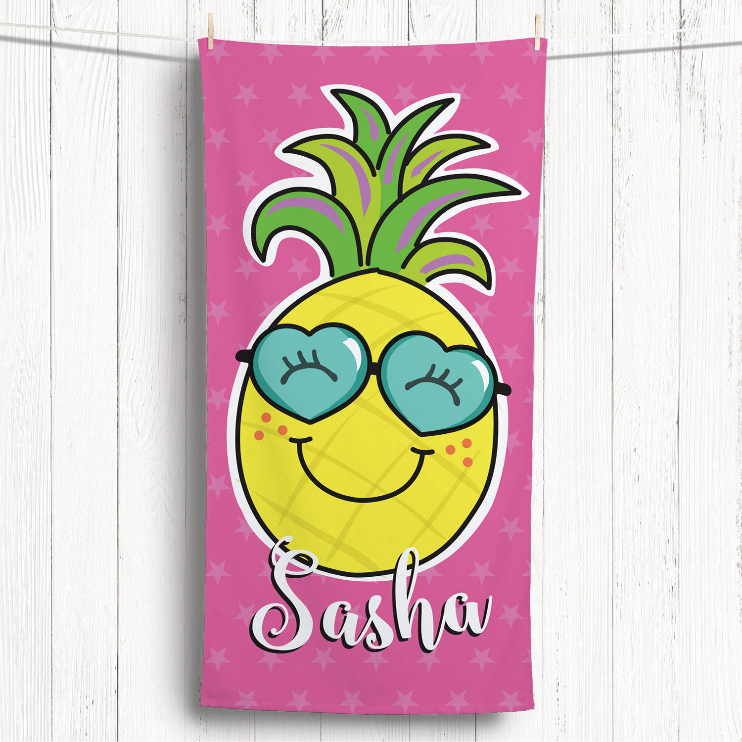 Happy Pineapple Personalized Kids Beach Towel
