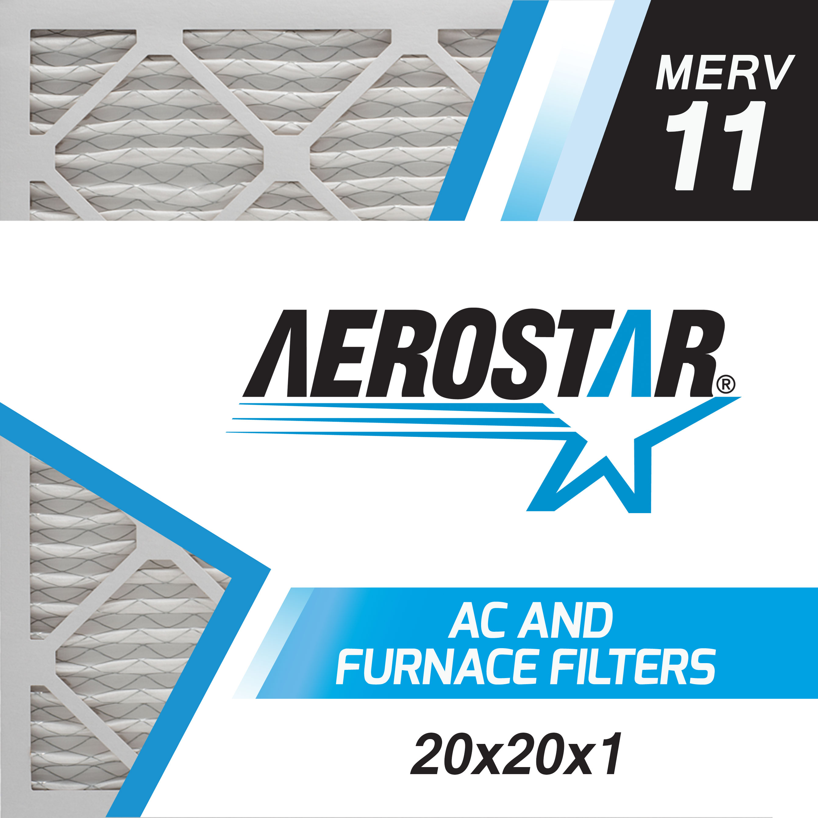 20x20x1 AC and Furnace Air Filter by Aerostar - MERV 11, Box of 6