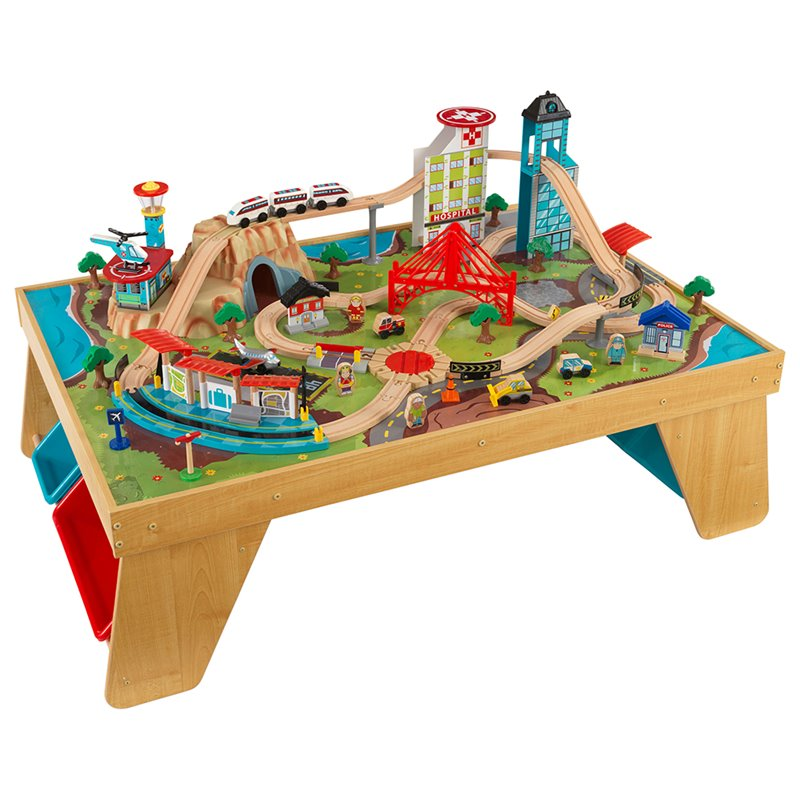 KidKraft Aero City Train Table Set in Natural by