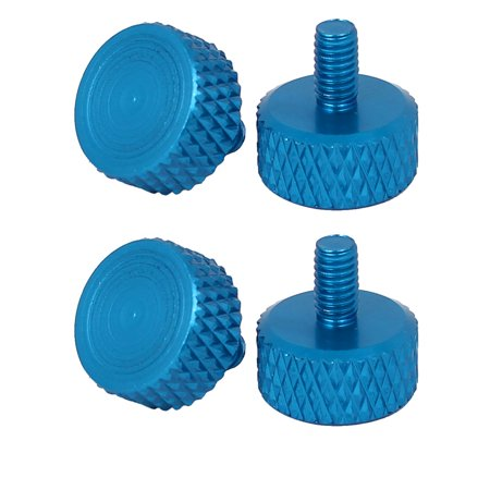 Computer PC Graphics Card Flat Head Knurled Thumb Screws Sky Blue M3.5x6mm 4pcs - image 3 of 3